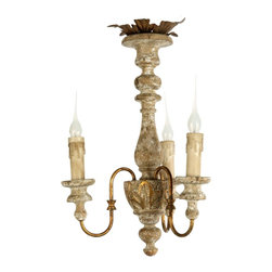 Aidan Gray - Aidan Gray Turin Chandelier-NOW IN STOCK! - This is the perfect little light for a small space. Hand carved in wood and finished with 3 diminutive metal arms.All Chandeliers Come With Standard 7 Ft. Chain. Chandelier Pole Sold Separately. Refer to suggested products at the bottom of this page.