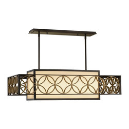 Murray Feiss - Murray Feiss Remy Transitional Rectangular Kitchen Island / Billiard Light X-DGP - No kitchen should be without this Remy transitional kitchen island/billiard light by Murray Feiss. It truly has an interesting design, with its outer decorative frame in a heritage bronze/Parissiene gold finish that floats over the bronze organza fabric shade. It's a brilliant design that creates depth and visual interest in a room.