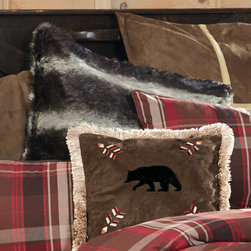 "Lodge Retreat Plaid Black Wolf Faux Fur Euro Sham - A Black Forest Decor Exclusive - Luxurious 2 1/2"" long polyester faux fur fibers in black and grays make the Lodge Retreat Plaid Black Wolf Faux Fur Euro Sham with soft black microfiber suede back a rustic accent. Zipper closure. Dry clean. Measures 27""W x 27""L. ~"