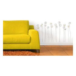 Roommates Decor - Alentejo Transfer Wall Decals - Add a little bit of fun to any blank wall with these playful scribbled floral decals. This abstract design is a great way to compliment your existing wall decor, or as an accent behind a bed, crib, or couch.