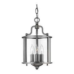 Hinkley - Gentry Small Pewter Foyer Pendant - Accent your foyer with this traditional foyer pendant constructed from solid brass. The pewter finish is enhanced with clear bent glass panels. It includes 6? of wire and 5? of chain.  Hinkley - 3470PW