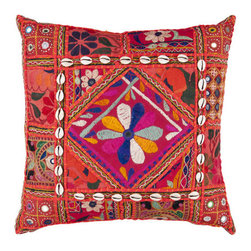 Surya Rugs - 18-Inch Square Red Multi-Color Bohemian Cotton Pillow Cover with Poly Insert - - 18 x 18 100% Cotton Pillow Cover w/ Poly Insert.   - For more than 35 years Surya has been synonymous with high quality innovation and luxury.   - Our designers have masterfully created some of the most cutting edge and versatile pieces to bring out the best in every room.   - Encompassing their expert understanding of the latest trends in fashion and interior design each product is a perfect combination of color pattern and texture to accommodate the widest range of tastes.   - With Surya the best in design and quality is at your fingertips.   - Pantone: Dark Olive Green Blue Corn Blackberry Deep Rose Magenta Red Rust Red Paprika Burnt Orange Orange Peel Sienna Desert Sand Coal Black Army Green Parchment.   - Made in India.   - Care Instructions: Spot Clean.   - Cover Material: 100% Cotton.   - Fill Material: Poly Fiber. Surya Rugs - AR070-1818P