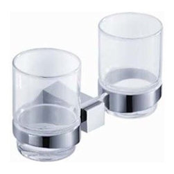 Fresca - Fresca Ellite Double Tumbler Holder - Chrome - All of our Fresca bathroom accessories are made with brass with a triple chrome finish and have been chosen to compliment our other line of products including our vanities, faucets, shower panels and toilets.  They are imported and selected for their modern, cutting edge designs.