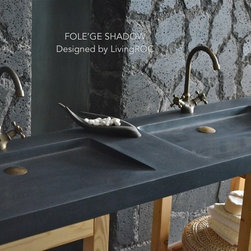 "TROUGH SINK FOLE'GE SHADOW 63""x19"" DOUBLE TROUGH BLACK GRANITE BATHROOM VESSEL S - Reference: BB513B-US"