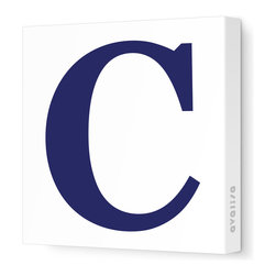 """Avalisa - Letter - Upper Case 'C' Stretched Wall Art, Navy, 28"""" x 28"""" - Spell it out loud. These uppercase letters on stretched canvas would look wonderful in a nursery touting your little one's name, but don't stop there; they could work most anywhere in the home you'd like to add some playful text to the walls. Mix and match colors for a truly fun feel or stick to one color for a more uniform look."""