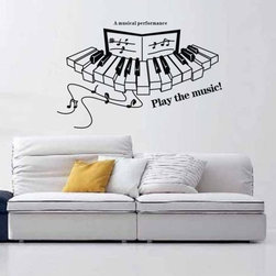 ColorfulHall Co., LTD - Electronic Keyboard Play The Music Lettering Music Wall Decals - Electronic Keyboard Play the Music Lettering Music Wall Decals