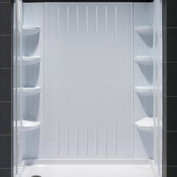 """DreamLine - DreamLine SlimLine 36"""" by 60"""" Single Threshold Shower Base Left Hand - DreamLine combines a SlimLine shower base with coordinating shower backwall panels to create a convenient kit that can transform a shower space. The SlimLine shower base incorporates a low profile design for a sleek modern look. The wall panels have a tile pattern and are easy to install with a trim-to-size fit. Both the shower panels and shower base are made from durable and attractive Acrylic/ABS advanced materials. DreamLine kits offer an ideal solution for any bathroom renovation project. Items included: 36 in. x 60 in. Single Threshold Shower Base and QWALL-3 Shower Backwall KitOverall kit dimensions: 36 in. D x 60 in. W x 75.625 in. H36 in. x 60 in. Single Threshold Shower Base:,  High quality scratch and stain resistant acrylic,  Slip-resistant textured floor for safe showering,  Integrated tile flange for easy installation and waterproofing,  Fiberglass reinforcement for durability,  cUPC certified,  Drain not included,  Center, right, left drain configurationsQWALL-3 Shower Backwall Kit:,  Color: White,  Assembly required,  6 integrated corner shelves,  2 convenient corner foot rests,  Unique water tight connection of 2 sidewalls, 2 corner panels and 1 back panel,  Trim-to-Size sidewall designed for shower base installation from 29 7/8 in. to 40 1/2 in.,  Height of glass should not exceed 72 7/8 in.,  These acrylic wall systems are specially designed to be installed over existing solid surface not directly against the studsProduct Warranty:,  Shower Base: Limited lifetime manufacturer warranty,  Shower Backwalls: Limited 1 (one) year manufacturer warranty"""