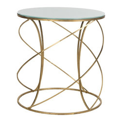 Safavieh - Cagney Accent Table - The dynamic curves and chic finish of the Cagney Accent Table make it a polished addition to any decor. Crafted with a gold-finish iron base and white glass tabletop, it brings modern elegance to any decor. It is an ideal spot for a cocktail, small lamp or priceless antique.