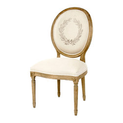 Kathy Kuo Home - Pair Madeleine French Country Laurel Leaf Oval Back Medallion Dining Chair - Fusing classic European design with simple rustic charm. A natural reclaimed oak finish adds an antique touch to this Louis XVI style Medallion side chair. Upholstered in natural linen with an acanthus leaf screen print, this traditional oval back chair lends vintage elegance to a dining room.