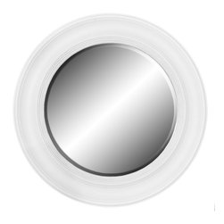 """Enchante Accessories Inc - Framed Round Wall Mirror 26"""" Diameter (Glossy White) - Polystyrene Framed Round Wall MirrorDecorative design with a weathered finish for a vintage lookPerfect Foyer MirrorVersatile design that can be hung in any hallway, living room, bedroom, or entrywayMeasures 26 in. DiameterMirrors not only reflect your image, but they reflect your style.  The types of mirrors you choose to hang in your home not only provide function, but act as a great accent piece that shows your sense of style apart and reflects your taste.  Made from durable wood and accented with distressed finishes, beveled edges, and weathered details that give them a rustic, vintage look, these mirrors add beauty to any wall in any room of the house.  Perfect for use in an entry way, a hallway, a dining room, a living room, or a bedroom, these rustic mirrors have that vintage inspired French country look that adds instant charm and casual comfort to any home. For a unique look and an interesting display, hang mirrors of different sizes, shapes, and colors on the same wall.  Mirrors help to add texture and dimension and create the illusion of a larger space.  By hanging multiple mirrors in a small space, you can create interest and increase the perceived size and feel of the space around you.  Available in both rectangular shapes and rectangular shaped frames with oval mirrors in the center, these rustic wood mirrors come in a variety of color finishes that have a neutral appeal and can be easily coordinated with any type of rustic furniture or shabby chic room decor. With the look and feel of a treasured family heirloom, these mirrors are aged and weathered to give them a vintage look and evoke a sense of old fashioned spirit.  Reminiscent of something you may have once seen in a charming country cottage, these wooden mirrors let you check out your own reflection as well as reflect the beautiful room around you.  The antique look makes them the perfect addition to any casual spa"""