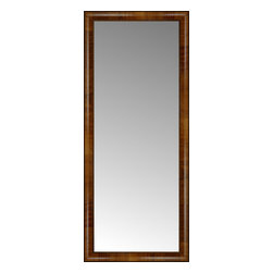 """Posters 2 Prints, LLC - 21"""" x 49"""" Belmont Light Brown Custom Framed Mirror - 21"""" x 49"""" Custom Framed Mirror made by Posters 2 Prints. Standard glass with unrivaled selection of crafted mirror frames.  Protected with category II safety backing to keep glass fragments together should the mirror be accidentally broken.  Safe arrival guaranteed.  Made in the United States of America"""