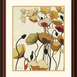 Amanti Art - Pavots Ondule I Framed Print by Shirley Novak - Poppies, rendered subtly and delicately, are the central point of this floral print by Shirley Novak. This soft-spoken artwork will lend a quiet, contemporary air to any room.