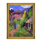 """Paul Gauguin-18""""x24"""" Framed Canvas - 18"""" x 24"""" Paul Gauguin Road in Tahiti framed premium canvas print reproduced to meet museum quality standards. Our museum quality canvas prints are produced using high-precision print technology for a more accurate reproduction printed on high quality canvas with fade-resistant, archival inks. Our progressive business model allows us to offer works of art to you at the best wholesale pricing, significantly less than art gallery prices, affordable to all. This artwork is hand stretched onto wooden stretcher bars, then mounted into our 3"""" wide gold finish frame with black panel by one of our expert framers. Our framed canvas print comes with hardware, ready to hang on your wall.  We present a comprehensive collection of exceptional canvas art reproductions by Paul Gauguin."""