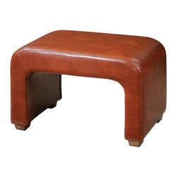 Uttermost - Pennie Leather Bench - Sturdy Bench Made From Hardwood Solids And Structural Plywood, Featuring Double-stitched, Copper-chestnut Faux Leather Accented With Weathered Pecan Finished Feet.