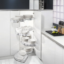 LeMans Blind Corner - The LeMans blind corner system is an excellent way to use all that lost space in a blind corner.  The shelves are German engineered and made, and glide on high quality bearings.  The whole unit, while complicated looking can be installed in minutes with minimal tools.