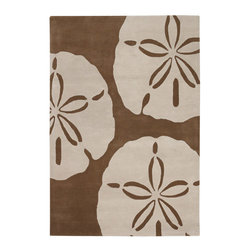 Thomas Paul - Thomas Paul Sand Dollar Taupe Wool Rug - Fusing coastal decor and a contemporary inspiration, Thomas Paul's Sand Dollar rug brings a room to life with oversized graphics in cream and brown. Hand-tufted from premium New Zealand wool for maximum sheen, a luxurious soft feel and true longevity. Available in several sizes; 100% New Zealand wool with cloth backing; Strong, resilient and static resistant for use in high-traffic areas; Some difference in color, size or shape is consistent with the nature of handmade products; Shedding is characteristic of fine wool and part of the natural wear-in process