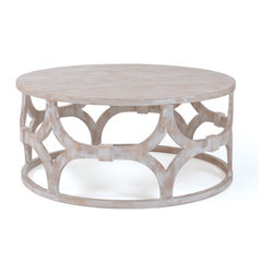 Adastra Round Coffee Table - Add the finishing touch to your furniture set with this unique accent piece. The white-washed wood follows the classic rustic look, but the classic structure makes this coffee table a standout piece in a variety of decors.