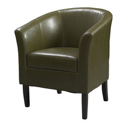 Linon - Cedar Simon Club Chair in Dark Green - Flared armrests. Some Assembly Required. Weight Limit: 275 lbs. Hardwood frame. 28.25 in. W x 25.5 in. D x 33 in. H (40.79 lbs)This modern Simon Club Chair features high arms and a deep seat, while the arching backrest and flared armrests provide a retro-modern design that is perfect for any setting. The chair is accentuated by tightly woven stitching and upholstered with stain and fade resistant wipe-clean Cedar colored vinyl. The hardwood frame will provide strength and stability for years to come. The arms and back are generously padded for extra comfort.