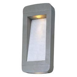 Maxim Lighting - Optic Silvertone Outdoor Wall Mount - The contemporary Optic outdoor wall sconce combines high style with functionality. The two concealed halogen light sources give powerful light,and the aluminum housing comes in a platinum finish.