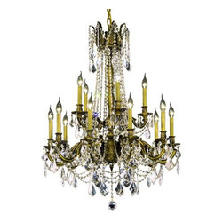"""PWG Lighting / Lighting By Pecaso - Reynard 15-Light 28"""" Crystal Chandelier 7833D28AB-SS - Elegant lighting for gracious living, Reynard Crystal Chandeliers are a lustrous departure in crystal design. Beginning with the solid brass sculptured and finely detailed frame, this series may be dressed in a choice of extraordinarily clear or colored crystal prisms."""