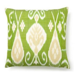 5 Surry Lane - Green Yellow Silk Ikat Pillow - Brilliant lime green with a mesmerizing pattern — this is the right throw pillow to punch up your sofa, couch or bed. Features include a hidden zipper closure and down feather fill.