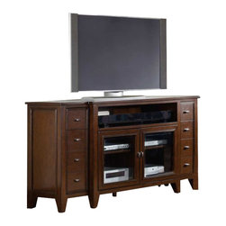 Hooker Furniture - Hooker Furniture Lorimer 68 Inch Entertainment Console in Warm Brown - Hooker Furniture - TV Stands - 506555493 - Lorimer Collection: Vibrant elements of style come together in Lorimer a collection that blends contemporary and clean design with a warm casual finish accentuated by soft breakfront shaped silhouettes and metal on selected pieces.