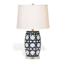 Kathy Kuo Home - Contemporary Blue White Lattice Porcelain Gazebo Lamp - Fresh garden lattice is accentuated on our Gazebo Lamp. Dark navy lines are hand painted in the geometric pattern of woven lattice on our porcelain lamp base.