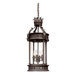 """Troy Lighting - Troy Lighting F9635 Los Feliz 4 Light Outdoor Lantern Pendant - *Metalwork: Hand-Forged IronGlassware: Clear SeededAvailable With Fluorescent Option.4 - 60W Candelabra Base (Not Included)13 1/2""""D 27 1/4""""HChain Hung Fixtures come with 4 Feet of Chain and 10 Feet of Wire"""