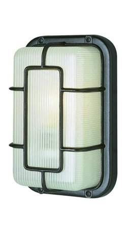 Joshua Marshal - One Light Black Frosted Polycarbonate Rectangle Ribbed Glass Marine Light - One Light Black Frosted Polycarbonate Rectangle Ribbed Glass Marine Light