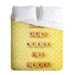 DENY Designs - DENY Designs Happee Monkee All You Need Is Love 1 Duvet Cover - Lightweight - Turn your basic, boring down comforter into the super stylish focal point of your bedroom. Our Lightweight Duvet is made from an ultra soft, lightweight woven polyester, ivory-colored top with a 100% polyester, ivory-colored bottom. They include a hidden zipper with interior corner ties to secure your comforter. It is comfy, fade-resistant, machine washable and custom printed for each and every customer. If you're looking for a heavier duvet option, be sure to check out our Luxe Duvets!