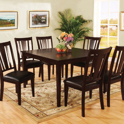 Hokku Designs - Bridgette 7 Piece Dining Set - Indulge in casual yet fashionable dining room decor. The Bridgette 7-Piece Dining Set in Espresso Finish presents a casualty design in a warm and inviting espresso finish with ravishing arched-back chairs. Features: -Overhang squared table top panel crafted with corner blocking for structural integrity.-Extra padded leatherette seat cushioning offer superior comfort.-Slightly curved slats back chair design.-ISTA 3A certified.-Set Includes one dining table and six chairs.-Frame construction: Solid wood and veneers.-Espresso finish.-Warm and inviting finish compliments most home furnishing.-Distressed: No.Dimensions: -Dining table dimensions: 30'' H x 48'' W x 48'' W.-Chair dimensions: 38'' H x 18'' W x 20'' D.