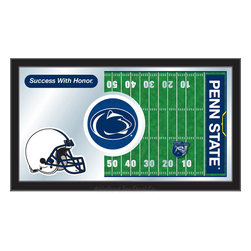 "Holland Bar Stool - Holland Bar Stool Penn State Football Mirror - Penn State Football Mirror belongs to College Collection by Holland Bar Stool The perfect way to show your school pride, our Football Mirror displays your school's symbols with a style that fits any setting.  With it's simple but elegant design, colors burst through the 1/8"" thick glass and are highlighted by the mirrored accents.  Framed with a black, 1 1/4 wrapped wood frame with saw tooth hangers, this 15""(H) x 26""(W) mirror is ideal for your office, garage, or any room of the house.  Whether purchasing as a gift for a recent grad, sports superfan, or for yourself, you can take satisfaction knowing you're buying a mirror that is proudly Made in the USA by Holland Bar Stool Company, Holland, MI.   Mirror (1)"