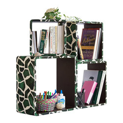Blancho Bedding - [Green Giraffe]Square Leather Wall Shelf / Bookshelf / Floating Shelf (Set of 4) - These rounded corner wall cube shelves add a new and refreshing element to your room and can be easily combined with other pieces to create a customized wall space. Coming in various colors and sizes, they spice up your home's decor, add versatility, and create a whole new range of storage spaces. You can hang them on the wall, or have them stand on table or floor, any way you like. Fashion forward design has never been so functional. This range of faux leather storage cubes is sure to delight! Perfect for wall mounting, these modern display floating shelves are sure to delight. Constructed from MDF with a top faux leather wrapping. Easy to mount, easy to love! Attractive shelf boxes give any wall in your home a striking appearance. Arrange in whatever fashion you like - whether it be grouped together or displayed separately. Each box serves as a practical shelf, as well as a great wall decoration.