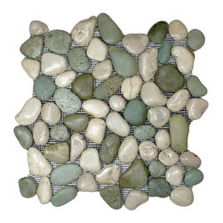 "CNK Tile - Glazed Sea Green and White Pebble Tile - Each pebble is carefully selected and hand-sorted according to color, size and shape in order to ensure the highest quality pebble tile available.  The stones are attached to a sturdy mesh backing using non-toxic, environmentally safe glue.  Because of the unique pattern in which our tile is created they fit together seamlessly when installed so you can't tell where one tile ends and the next begins!     Usage:    Shower floor, bathroom floor, general flooring, backsplashes, swimming pools, patios, fireplaces and more.  Interior & exterior. Commercial & residential.     Details:    Sheet Backing: Mesh   Sheet Dimensions: 12"" x 12""   Pebble size: Approx 3/4"" to 2 1/2""   Thickness: Approx 1/2""   Finish: Glazed Green and White"