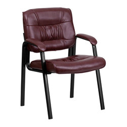 Flash Furniture - Flash Furniture Leather Chair in Burgundy with Black Frame Finish - Flash Furniture - Office Chairs - BT1404BURGGG - Place this leather chair in your reception area for your visitors to be welcomed in comfort or in the office as a side chair for guests. The thick padded seat and back will make your guests feel very comfortable while business is being conducted. When in need of side chairs for the home or workplace this stylish chair is sure to be the perfect fit.