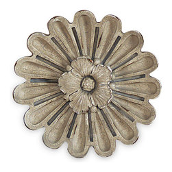 Port 68 - Elizabeth Rosettes, Set of 2 - Inspired by Parisian architecture, these rosettes are small replicas of antique architectural details found on centuries-old buildings and churches in France. Cast from polystone in a beige/gray color, the Elizabeth rosettes evoke classic European sensibility and style. Display them in multiples on the wall for an elegant look or layer them for a three-dimensional effect. Riser brackets included.