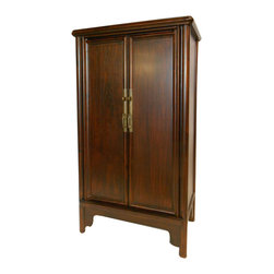 """Chinese Ming Style Splayed Cabinet - Simple designs deliver a lot of punch!  This Chinese Cabinet is a traditional Ming design with rounded frame-work, angled sides and simple brass. Made of solid Elmwood in Shanghai using old traditional Chinese wood joinery.  Cabinet is 42"""" high and comes with two removable shelves.  An """"A-Frame"""" design, this measures wider at the bottom (23.5"""") than the top (22.5""""). The depth also tapers 15"""" bottom to 13.75"""" at top.  We offer two lacquer finishes: a dark red mahogany with black frame, or Brown finish. This stunning item can be used as a bar, entertainment center, shoe cabinet or a storage chest in any room when a knock out piece is needed."""
