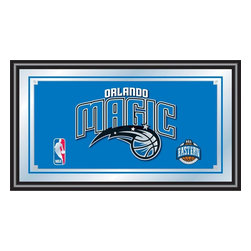 Trademark Global - Orlando Magic NBA Framed Logo Mirror - Officially Licensed Full Color Artwork. Mirrored Glass Accents Team Logo. 1.25 Inch Black Wrapped Wood Frame. Includes Mounted Saw Tooth Hanger. Measures .75 (D) x 27 (W) x 15 (H) InchesReflect on the favorite memories of your team with this officially licensed framed logo mirror. Authentic artwork is preserved under mirrored glass then bound by a black wrapped wood frame.  Post up your passion for the game while assisting your room's appearance with this professional grade logo mirror.