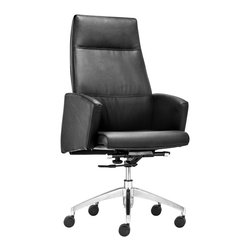 Zuo - Chieftain High Back Office Chair, Black - The Chieftain Office Chair collection commands attention and respect, but is sleek and modern at the same time.  This high-back, leatherette-wrapped office chair is versatile, so it does not matter whether it sits behind the desk or around a conference table. Luxury and style exude from this design.  Available in black or white, the Chieftain high back office chair will make a statement that won't soon be forgotten.  Armrests make this chair comfortable to sit in, while keeping clean lines in the space.  This executive chair is perfectly paired with desks or conference room tables with a taller profile.