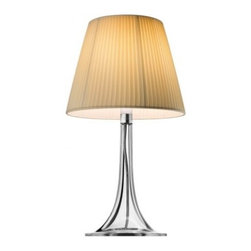 """Flos - Flos Miss K Soft table lamp - The Miss K Soft table lamp features diffused light emission. A fully transparent, injection molded PMMA polymethacrylate structure is topped with a pleated fabric diffuser. Dimmer for 0-100% luminosity adjustment, transparent polarized cord.  Product description:  The Flos Miss K Soft table lamp is designed by Phillipe Starck for Flos. This table lamp provides diffused light. The diffuser of this pretty table lamp is made from a pleated fabric. The body is fully transparent, injection-molded PMMA polymethylmethacrylate. The Miss K table lamp has a conventional dimmer for 0 to 100% luminosity adjustment with translucent cover fitted on the translucent polarized cord. In stock and ready to ship! UL listed!   Details:     Manufacturer: Flos   Designer: Phillipe Starck   Made in: Italy   Dimensions: Height H:17,01"""" diameter:9,29""""    Light bulb: max. 100W incand.   Material polymethylmethacrylate, fabric"""