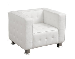 Great Deal Furniture - Decco White Modern Club Chair - The Decco Modern Club Chair was designed for look and comfort. This modern lounge chair features lush, cushioned seating wrapped in luxurious, tufted bonded leather in corrected grain with elegant detail stitching. Arm rests and form-fitted seating add extra comfort while sturdy chrome legs ensure strength and stability. The Decco lounge seating is available in black and white colors to complement any modern décor.