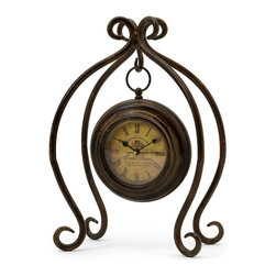 iMax - iMax Iron Hanging Clock with Stand X-1172 - Uniquely designed iron hanging clock with stand with yellow face and roman numerals