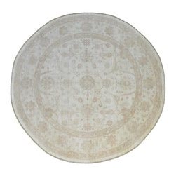 Oriental Rug, 10'X10' Stone Wash Round 100% Wool Hand Knotted Carpet SH9011 - Hand Knotted Oushak & Peshawar Rugs are highly demanded by interior designers.  They are known for their soft & subtle appearance.  They are composed of 100% hand spun wool as well as natural & vegetable dyes. The whole color concept of these rugs is earth tones.