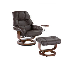 Holly & Martin - Canyon Lake Leather Recliner and Ottoman, Brown - Become familiar with the concept of luxury as this recliner and ottoman set is all about rich, traditional elegance and modern superiority. This reclining chair and matching ottoman merges the ease of reclining with the comfort of luxurious bonded leather for a perfect end-of-day reward. As a bonus, this set comes with a smooth sliding side table that offers a handy spot for holding a beverage or storing a remote. So go ahead and put your feet up with this ergonomically designed recliner and ottoman set; you'll want one for every room.