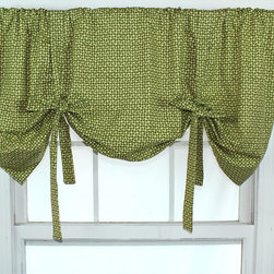 RLF HOME - Cabana Trellis Kiwi Tie-up Valance - This stylish valance features a green and gold trellis check design. This valance offers adjustable height through the self-made fabric ties.
