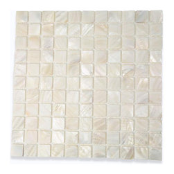 "Mother Of Pearl Oyster White Tile - Mother of Pearl Oyster White Glass Tile This captivating mother of pearl tile in oyster white is artfully arranged in a square pattern. The pearl shell glass will add a durability and lasting exquisiteness to your kitchen, or fireplace installation. The mesh backing not only simplifies installation, it also allows the tiles to be separated which adds to their design flexibility. Chip Size: 1"" x 1"" Color: White Material: Pearl Shell Glass Finish: Polished Sold by the Sheet - each sheet measures 13"" x 13"" (1.17 sq. ft.) Thickness: 1mm Please note each lot will vary from the next. This tile is not recommended to be installed in a shower, shower floor or pools."