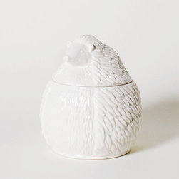 Mister Hedgehog Container - Don't worry, this woodland creature won't be running off with your jewelry. Inspired by canopic jars, this porcelain cutie will stay put next to your vanity and keep your valuables safe.