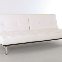 "Innovation USA - ""Innovation USA"" Splitback White Leather Textile Sofa Bed with Chrome Legs - Suitable for both home decors and commercial spaces, the modern and innovate ""Innovation USA"" Splitback White Sofa Bed boasts sleek design with chromed stainless steel legs, patented Icomfort pocket spring mattress for maximum softness and comfort, and Leather Textile upholstery.    Features:"