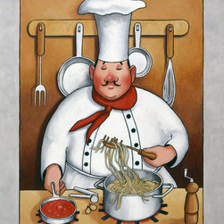 Murals Your Way - Chef 4 Wall Art - Part of John Zaccheo's Chef series, this wall mural shows the merry chef making spaghetti with red sauce.