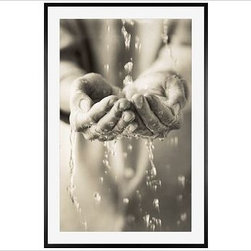 """Michal Venera Framed Print, Water Hands, Mat, 28 x 42"""", Black - A gentle study in form and shape, this photo focuses on the human hand in relation to the natural and temporal world. Cupped hands being filled with water speak to the delicacy and beauty of the present moment. 11"""" wide x 13"""" high 16"""" wide x 20"""" high 28"""" wide x 42"""" high Alder wood frame. Black or white painted finish; or espresso stained finish. Beveled white mat is archival quality and acid-free. Available with or without a mat. {{link path='/shop/accessories-decor/pb-artist-gallery/artist-gallery-michal-venera/'}}Get to know Michal Venera.{{/link}}"""